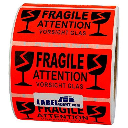 Labelident Warnetiketten (100 x 50 mm) - Fragile - Attention - Vorsicht Glas - 1000 Versandaufkleber auf 76 mm (3 Zoll) Rolle, Papier leuchtrot, selbstklebend