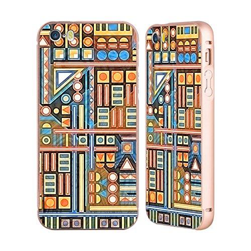 Ufficiale Shelly Bremmer Campo Di Gioco Geometrico Oro Cover Contorno con Bumper in Alluminio per Apple iPhone 5 / 5s / SE Blu