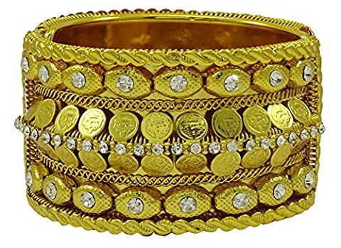 Matra ton or CZ Pierre Kada Bracelets Bangle Set femmes Ginni Party Coin 2 * 6 Jewellery