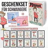 Geschenkset für Schwangere mit Tagebuch und Lesezeichen - 12 Schwangerschaftsmeilensteinkarten auf Fotopapier + eine Spieluhr-CD für Mädchen oder Jungen, die das Einschlafen fördert