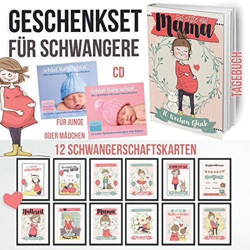 Geschenkset für Schwangere mit Tagebuch und Lesezeichen - 12 Schwangerschaftsmeilensteinkarten auf Fotopapier und eine SpieluhrCD für Mädchen oder Jungen die das Einschlafen fördert Rock Lesezeichen