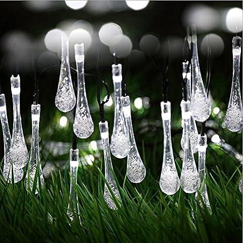 Tophie Weiß 6M 30 LED Icicle Lights Solar Powered Raindrop Garden String Fairy Lights/ LED Waterproof Decorative Lights for Outdoor, Garden, Patio, Christmas, Xmas Tree, Holiday Party usw [Energieklasse (Batteriebetriebene Globe-leuchten)