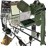 Karpfenangeln 3 x Angelrute Und Rolle Komplett Anordnung + Carry all Alarm Gerät PVA Pod
