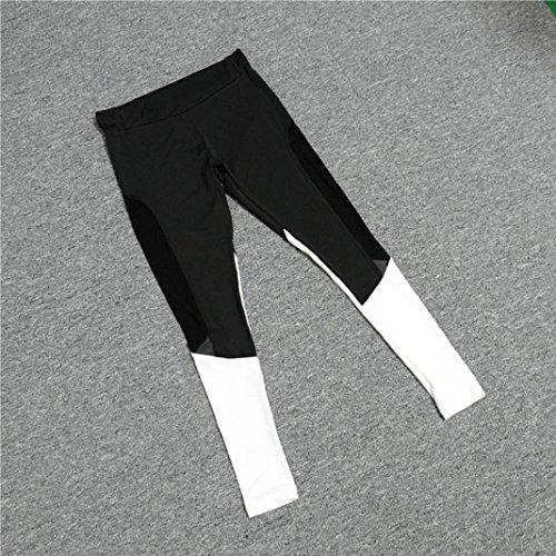 Mme antalons de Yoga à LongPparagraphe,Sisit Femmes Taille Haute Sports Gym Yoga en cours d'exécution Fitness Leggings Pantalons Vêtements d'entraînement Noir