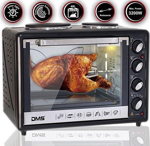 DMS® 48L Mini-Backofen mit Kochplatten Drehspieß Umluft Pizzaofen Ofen , Backofen mit Innenbeleuchtung, Timer 3200 Watt herausnehmbares Krümelblech OCRH-48D