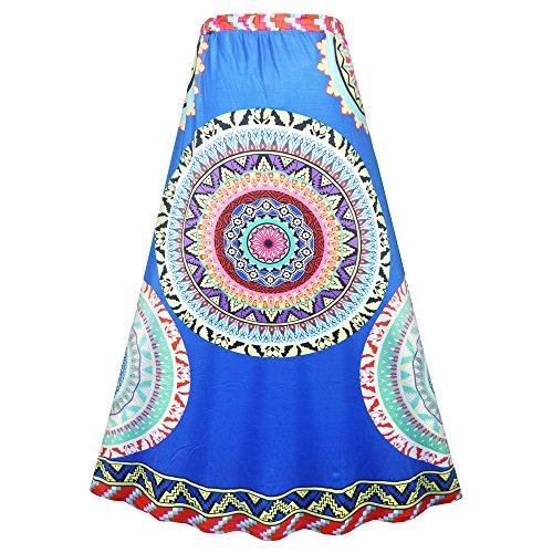 Dabag -sexy tribus style femmes frappant couleur imprimer taille serrée robe de plage taille une robe colorée midi grand Swing (Taille unique, Bleu) Bleu