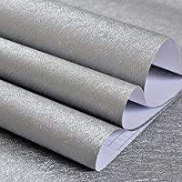 Papel Pintado Para Pared Autoadhesivo, PVC impermeable, Para Hogar, Dormitorio, Sala de Estar, Vinilo, Plateado, 60x500