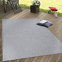 80702e00d54b78 Paco Home In- & Outdoor Flachgewebe Teppich Terrassen Teppiche Natürlicher  Look In Grau, Grösse