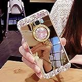 Girlyard Silikon Glitzer Hülle für Galaxy S8 Spiegel Gold, Weiche TPU Luxus Bling Diamant Schutzhülle pour Samsung S8 Crystal Clear Backcover mit 360 Grad Strass Ring Ständer pour Samsung Galaxy S8