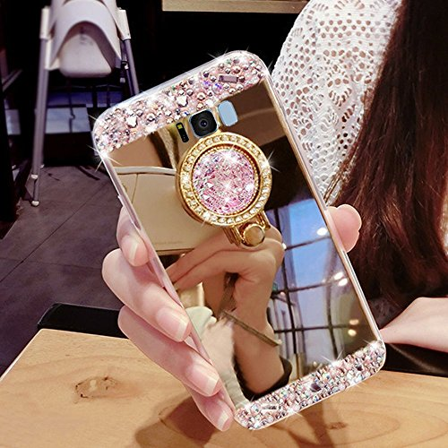 Preisvergleich Produktbild Girlyard Silikon Glitzer Hülle für Galaxy S8 Plus Spiegel Gold,  Ultra Slim Weiche TPU Bumper Luxus Bling Diamant Schutzhülle Crystal Clear Backcover mit 360 Grad Strass Ring Ständer pour Samsung Galaxy S8 Plus
