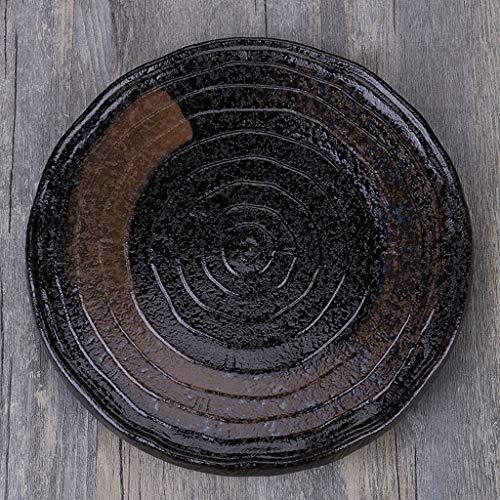 LI plaque- Grande vaisselle en céramique ronde d'American Country - Récipient de conservation des aliments pour plat de pâtes à pizza au steak (1 paquet) tableware (Couleur : H, taille : 26cm)