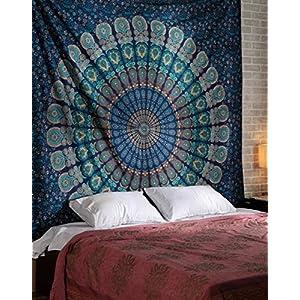 ele ELEOPTION Wandteppich Indian Mandala Wall Hanging Hippie Tapestry Wanddeko für Kinderzimmer Wohnzimmer Schlafzimmer auch als Yogamatte Picknickdecke Strandtücher (Blau und Grün, 150 x 205cm)