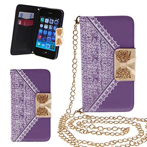 Xtra-funky esclusivo pu cuoio del modello del merletto e fiocco dorato di vibrazione di caso della copertura della borsa con la carta di credito e denaro slot e staccabile catenina d'oro per iphone 6 (4.7