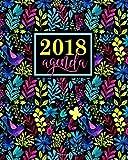 Agenda: 2018 Agenda settimanale italiano : 19x23cm : Fantasia floreale acquerello arcobaleno: Volume 9