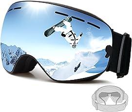 FENYI Skibrille,Snowboard Brille Doppel-Objektiv UV-Schutz Anti-Fog Abnehmbarer Sphärische Auswechselbare Skibrille für Brillenträger Damen Herren Jungen Und Mädchen(Grau)