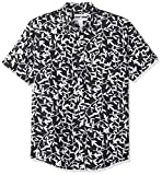 Amazon Essentials Slim-Fit Short-Sleeve Print Linen Shirt Button-Down, Black Leaf, US...