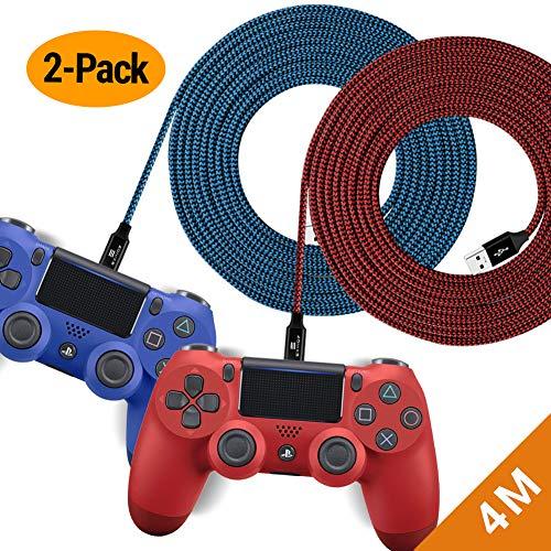 EXINOZ Geflochtenes Nylon Ladekabel für PS4 DualShock und Xbox One Controller | Perfekte Länge USB Kabel für Playstation 4 und Xbox | Kabel mit 1 Jahr Umtauschgarantie (4m - 2er-Pack, Blau und Rot)