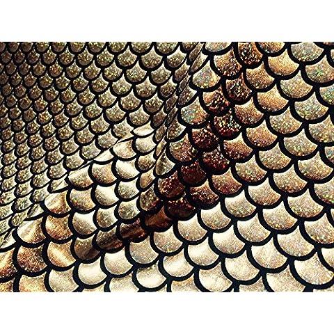 tessuto Jersey sirena scala pesce Tale Foil–Materiale elasticizzato a 4vie, larghezza 150cm, Oro e Nero (venduto al metro)