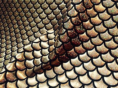 Sirène Échelle Tissu imprimé conte de poisson Balances Foil - 2 voies Matière stretch en Lycra Spandex - 150 cm de large - Doré et Noir (Prix au mètre)