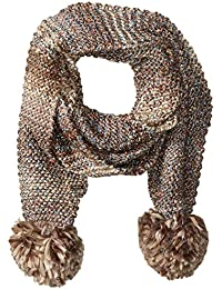 Nine West Women's Multi Colored Tweed Muffler with Poms