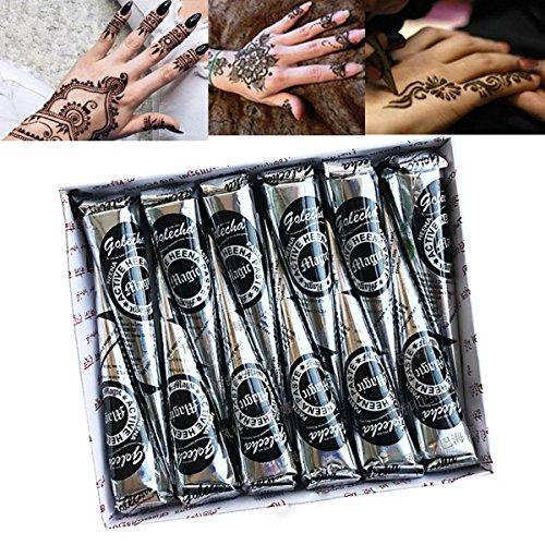 Tatuaje Temporal Luckyfine 12 piezas Pintura Corporal Facial Tatuaje Dorado Tatuaje Pegatina Henna para Tatuajes Negro - Tiopeseer Oficina