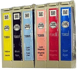 Epson Original T0801 Lot T0806 Emballage en vrac 6 couleurs T0807)