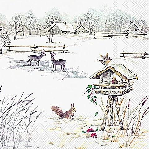 SNOWY da giardino a forma di pupazzo di neve Christmas Luncheon-Tovaglioli di carta, confezione da 20 pezzi, 33 cm - Giardino Luncheon Tovaglioli