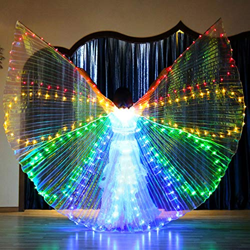 ZTXY LED 8 Flügel Bauchtanz Licht 360 Grad Big Wings Womens Mädchen Schal Butterfly Wings Dance Party Pixie Cosplay Zubehör Cape Für Maskerade Karneval,Blue
