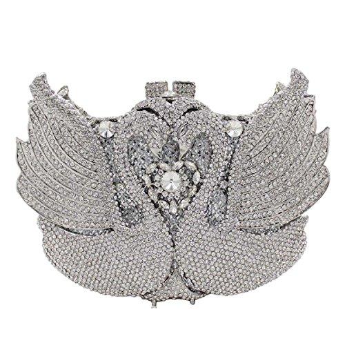 Borsa Di Cristallo Borsa Di Lusso Dei Diamanti Cigno Da Sera Delle Donne Silver