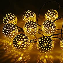 wantoby ghirlande luminose solare 20LED bianco caldo Marocco Balls 4.5metri illuminazione giardino impermeabile pesca fioritura di Natale lampada decorativa per esterna, giardino, accoglienza, matrimonio