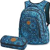 DAKINE 2er Set Rucksack Schulrucksack Laptop Frankie + School CASE Mäppchen Blue Magnolia