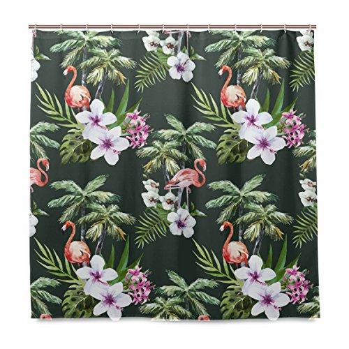 Yibaihe Dusche Vorhänge Watercolor Muster mit Flamingo Palm Polyester Stoff Gedruckt Schimmelresistent Wasserdicht für Badezimmer Badewanne, 12Haken 183x 183cm (Palm-baum-dusche Vorhang Ringe)