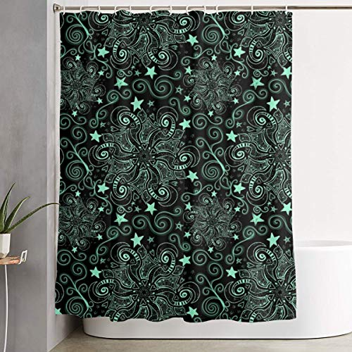 Pads bag Project 47 Chalkboard Sky Mint Stars Shower Curtain 60 * 72inch Multicolor Waterproof Fabric Bathroom Accessories