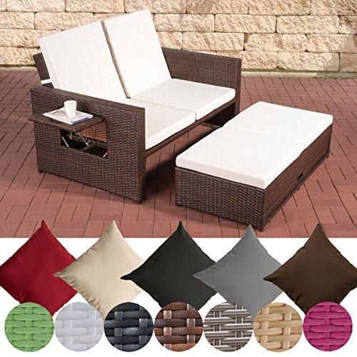 CLP flexibles Poly-Rattan 2er Lounge-Sofa ANCONA, ALU-Gestell, ausziehbares Fußteil, 7 Farben + 3 Rattan Stärken wählbar, inkl. Auflagen Rattan Farbe braun-meliert, Stärke 1,25 mm, Bezugfarbe: Cremeweiss -