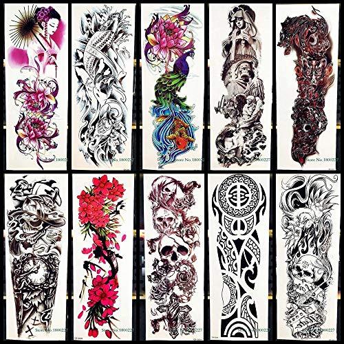 Große Volle Arm Temporäre Tattoos Aufkleber Pfauenblume Spartan Schädel Totem Körperkunst Für Männer Frauen Wasserdichte Gefälschte Tattoos - Spartan Mann Kostüm