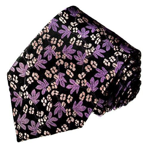 le Luxus Krawatte aus 100% Seide - violett lila weiss schwarz , kleine Blumen - 12049 (Schwarz Und Weiß Seide Blumen)