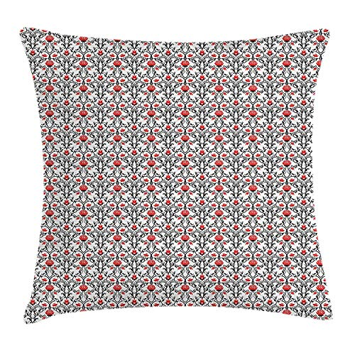 Art Nouveau Throw Pillow Cushion Cover, Swirled Baroque Branches with Tulip Blooms Rococo Nostalgic Rose Pattern, Decorative Square Accent Pillow Case, Black Red White24 Cathay Rose