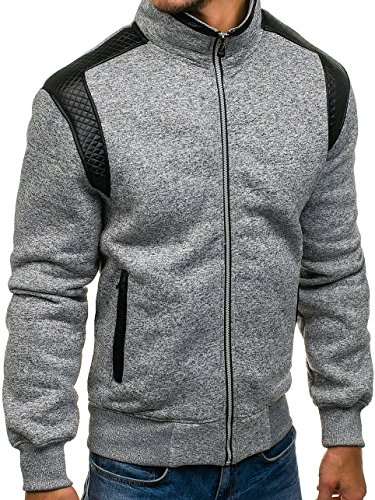 BOLF Herren Sweatshirt Sweatjacke Langarmshirt Stehkragen Zip 1A1 MIX Grau_1801