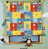 Kindergardine Raffrollo blickdicht Kinderzimmer Vorhang Gardine Bauernhof mit Haus Hund Herz Blume Vogel - HxB 170x120 cm - Rollo Tiere bunt Typ84