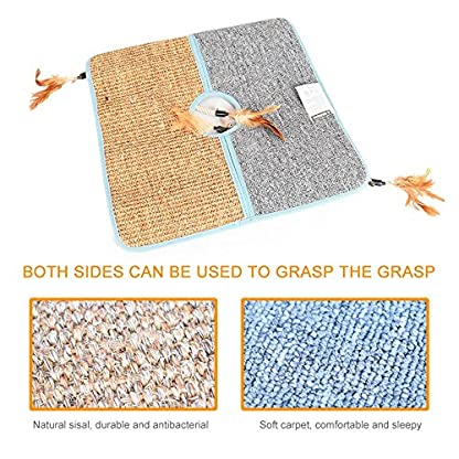 Aolvo Cat Scratcher, Double Sided Natural Tanzania Sisal Cat Scratching Mat Pad Cardboard, Soft and Unbroken, Interactive Cat Scratch Mat Scratcher Replacement with 2 Cat Feather Teaser Toy 5