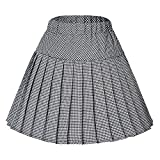 Urban GoCo Femme Fille Mini Jupe Patineuse Ecossais Évasé Tartan Plissé Plaid Court Jupe (Small, Série 12 noir)
