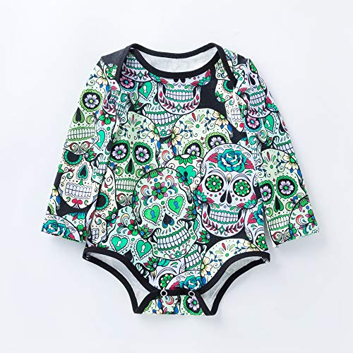 QSEFT Baby Body Langarm Druck 100% Baumwolle Baby Halloween-Kostüm 0-24 Monate,80