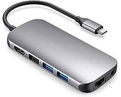USB C 9-in1 والمحور مع 4K HDMI محول 100W PD الشحن 1000Mbps منفذ إيثرنت SD 3.0 و 3.0 TF قارئ بطاقة USB 3.0 الميناء للماك بوك ا