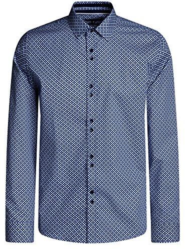 oodji Ultra Herren Druckhemd Aus Baumwolle Blau (7079G)