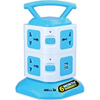 iBELL SG721X ABS Power 2500W 7 Way Socket and 2 Way USB Socket Spike Guard Extension Cord Box with LED Indicator, White…