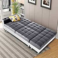 Tuff Concepts Multifunctional Faux Leather Sofa Bed with Storage & Cup Holder Recliner Sofabed Italian Style Living Room Furniture (Gray+White)