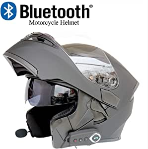 Zhyy Modular Motorcycle Helmet Bluetooth Fm Dot Certification Flip Up Touring Helmets Built In Bluetooth Headphones With Two Speakers For Automatic Answering Black Küche Haushalt