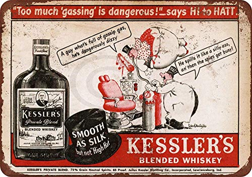 HNNT New Tin Sign Kessler\'s Blended Whiskey Aluminum Metal Sign 8x12 Inches