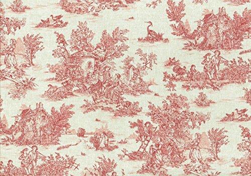 Textiles Français Tessuto Toile De Jouy La Vie Rustique Rosso