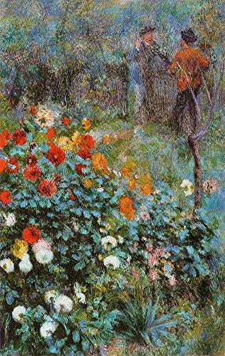 JH Lacrocon Pierre-Auguste Renoir - Garten Der Straße Cortot Leinwandbilder Reproduktionen Gerollte 60X40cm - Baum Gemälde Komplett Texturiert 3D Gedruckt Wandkunst für Wohnzimmer